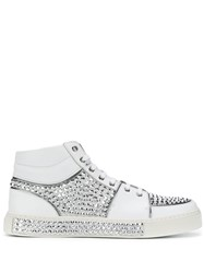 Balmain Crystal Embellished Hi Top Sneakers White