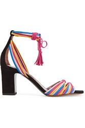 Tabitha Simmons Jamie Knotted Suede Sandals Fuchsia