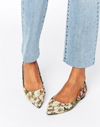 Asos Lost Pointed Ballet Flats Tapestry Multi