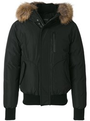 Mackage Bomber Jacket With Raccoon Fur Hood Feather Down Leather Acrylic Feather Black