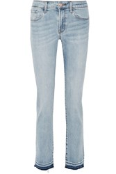 J Brand Amelia Frayed Mid Rise Slim Leg Jeans Light Denim