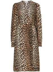 Ganni Leopard Print Midi Dress Black