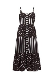 Solid And Striped Tiered Polka Dot Midi Dress Black White
