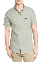 Rvca Men's 'That'll Do' Slim Fit Short Sleeve Oxford Shirt Cadet Green