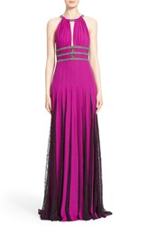 Women's Badgley Mischka Halter Neck Silk Gown With Lace Pleat Detail
