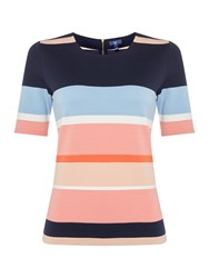 Gant Round Neck Multi Stripe Top Multi Coloured Multi Coloured