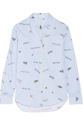 Mira Mikati Printed Cotton Poplin Shirt Light Blue