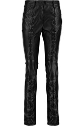 Balmain Lace Up Leather And Ponte Skinny Pants Black