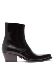 Calvin Klein 205W39nyc Tex Polished Leather Ankle Boots Black