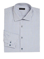 Saks Fifth Avenue Collection Window Pane Checked Shirt Brown