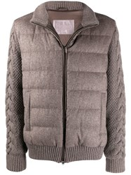 Herno Padded Knitted Jacket Brown