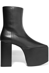 Balenciaga Leather Platform Ankle Boots Black