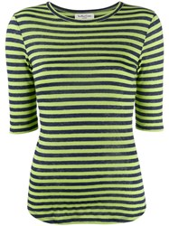 Ymc Striped Fitted Top Green