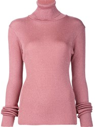 Marios 'Shimmery' Ribbed Turtleneck Pullover Pink And Purple