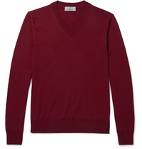 Canali V Neck Wool Sweater Burgundy