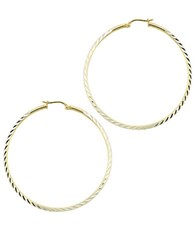 Lord And Taylor Textured 18Kt Gold Plated Sterling Silver Hoop Earrings