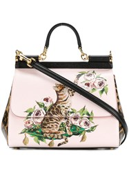 Dolce And Gabbana Sicily Leopard Print Tote Women Calf Leather One Size Pink Purple