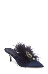 Tory Burch Elodie Embellished Feather Mule Perfect Navy