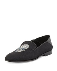 Alexander Mcqueen Skull Embroidered Slip On Loafer Black Multi Gray Black Multigrey