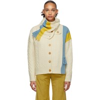 Sjyp Off White Neck Warmer Cardigan