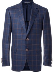 Canali Woven Check Blazer Pink And Purple
