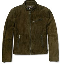 Ralph Lauren Purple Label Randall Suede Biker Jacket Green
