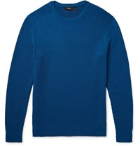 Theory Hilbet Ribbed Stretch Cotton Sweater Cobalt Blue