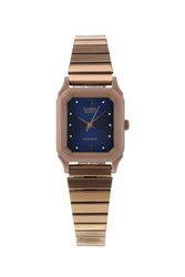 Topshop Casio Rose Gold And Navy Square Watch