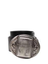 Dsquared 45Mm Zippo Plaque Leather Belt Black