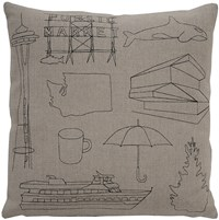 K Studio Seattle Pillow Small 18 X 18 Gray