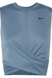 Nike Cropped Twisted Dri Fit Tank Teal