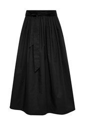 Hallhuber Midi Skirt With Box Pleat And Belt Black