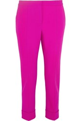 Narciso Rodriguez Wool Blend Pique Tapered Pants Fuchsia