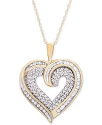 Macy's Diamond Baguette Heart Necklace In 10K Gold Or White Gold 3 8 Ct. T.W. Yellow Gold