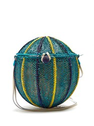 Sophie Anderson Meylin Woven Toquilla Cross Body Bag Blue Multi