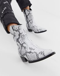 Bronx Snake Print Leather Western Boots Multi