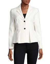 Ivanka Trump Pleated Cotton Blazer Ivory