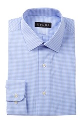 Alexander Julian Check Print Long Sleeve Regular Fit Shirt Blue