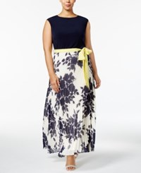 Jessica Howard Plus Size Belted Pleated Maxi Dress Navy Ivory