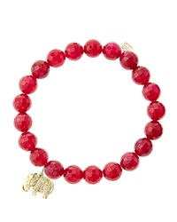 Sydney Evan 8Mm Faceted Red Agate Beaded Bracelet With 14K Gold Diamond Small Elephant Charm Made To Order