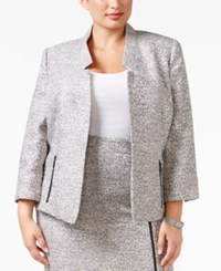 Kasper Plus Size Zip Pocket Tweed Blazer Grey