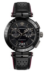 Versace Aion Chronograph Leather Strap Watch 45Mm Black
