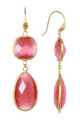 Rivka Friedman 18K Gold Clad Faceted Raspberry Cat's Eye Crystal Bold Double Dangle Earrings Pink