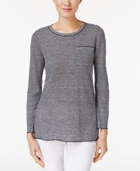 Eileen Fisher Organic Linen Tunic Black White