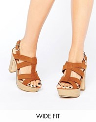 New Look Wide Fit Wooden Block Heeled Sandal Tan