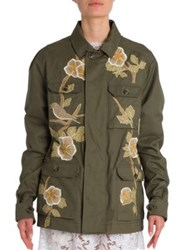 Valentino Floral Embroidered Cotton Utility Jacket Lovat