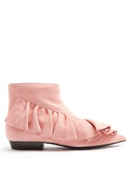 J.W.Anderson Ruffled Suede Ankle Boots Light Pink