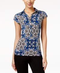 Alfani Printed Cap Sleeve Polo Shirt Only At Macy's Moscaic Blue