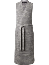 The Elder Statesman Sleeveless Long Cardigan Grey