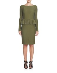 Cynthia Steffe Florence Striped Peplum Knit Dress Highland Green